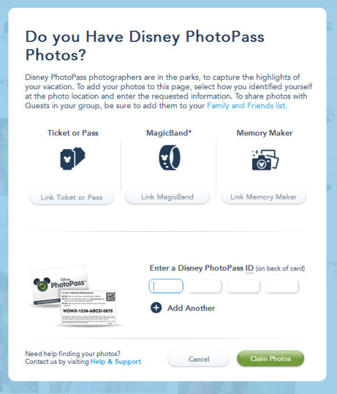 Entrando no Memory Maker, cliquei em Claim Photos e depois coloquei o número do cartão
