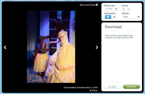 Baixando uma foto individual, primeiro clicando em Download...