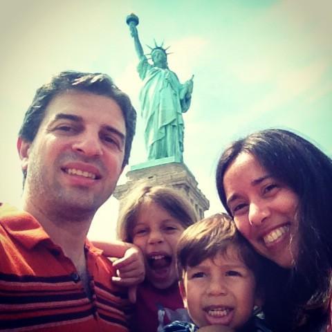 Selfie com a Estátua da Liberdade em NYC