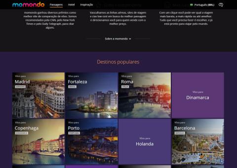 Destinos na Home Page