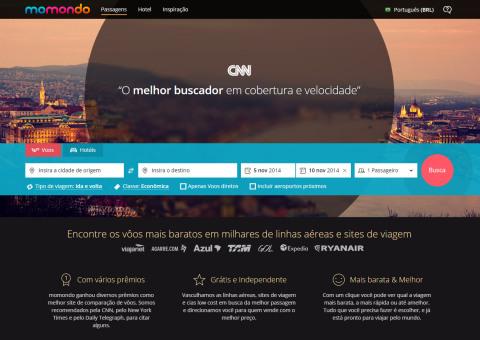 Home Page do Momondo.com.br, buscador de passagens aéreas