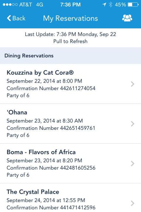 Nossas reservas de restaurantes (com personagens e sem) na app My Disney Experience