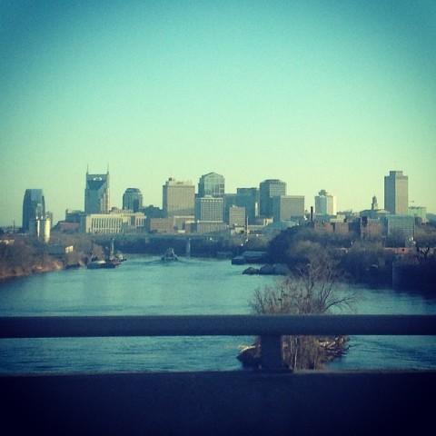Downtown Nashville no final do dia