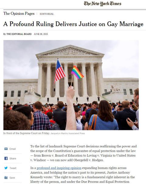 Reportagem do New York Times falando que a Suprema Corte foi justa com a sua decisão #MarriageEquality