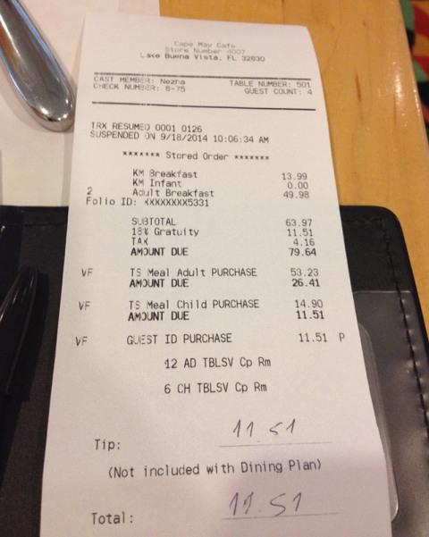 Notinha do Cape May Cafe para nós 4, o Eric não paga