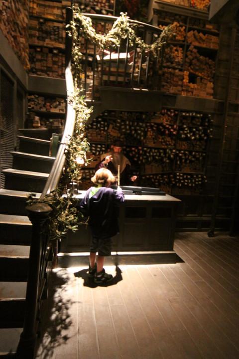 Momento que a varinha mágica certa encontra o seu bruxinho na Ollivander's