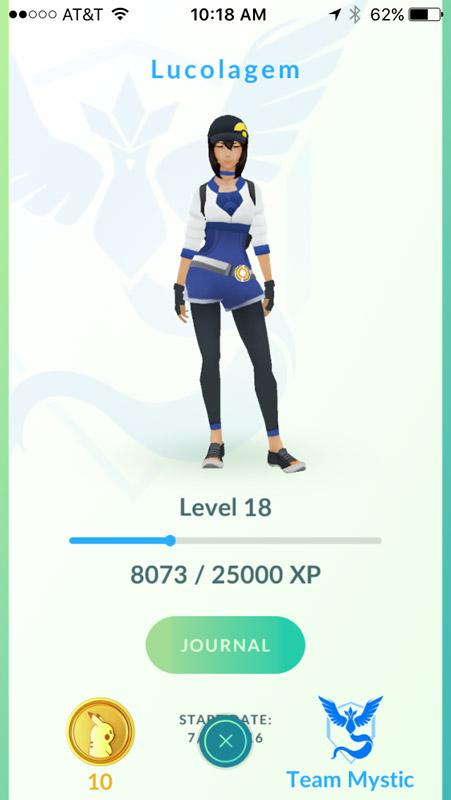 Minha avatar no jogo Pokémon Go