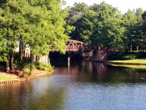 Uma das pontes bucólicas no Port Orleans Riverside