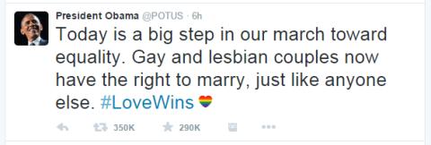 O Presidente Obama apoiou a decisão, usando a hashtag #LoveWins (o Amor Vence)