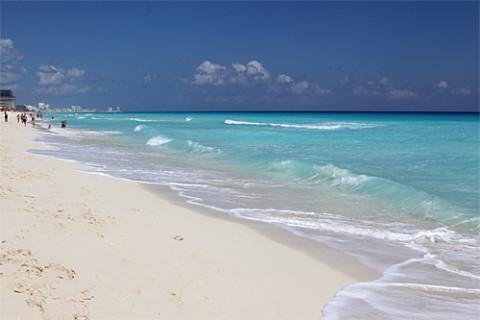 índice da viagem a Cancun e Riviera Maia: Praia em frente ao nosso hotel em Cancun
