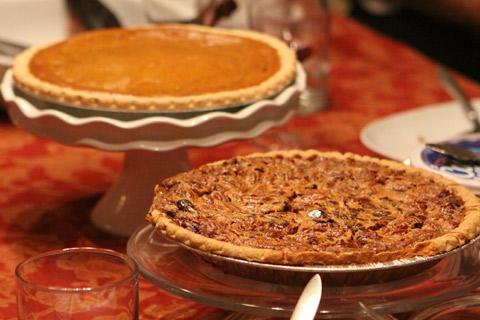 Pecan Pie e Pumpkin Pie no nosso jantar de Thanksgiving
