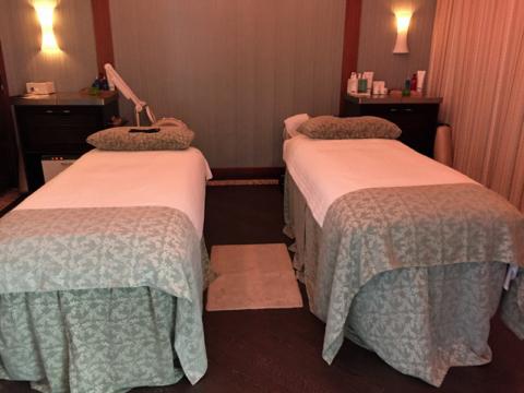 A sala de tratamento no spa onde fizemos a massagem para casal