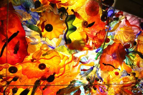 As esculturas de vidro coloridíssimas de Chihuly no teto