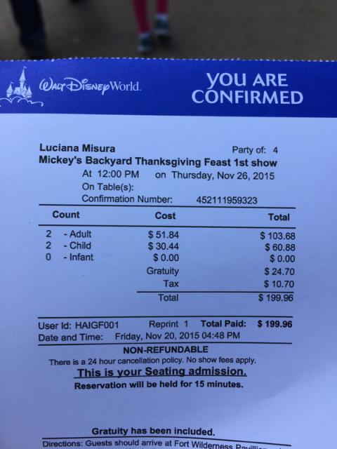 Nosso ticket mostrando o que já pagamos na reserva, gorjeta incluída