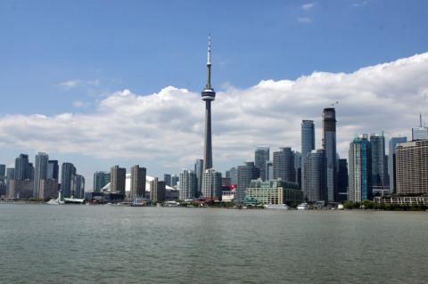 Toronto vista do barco que vai para uma das ilhas do Toronto Islands Park (Centre Island)