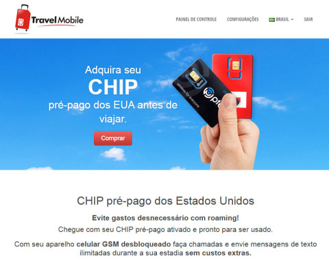 Home page do site da Travel Mobile