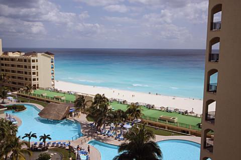 Vista do nosso quarto no hotel Royal Caribbean em Cancun