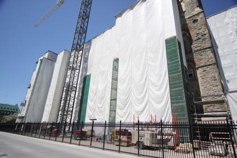 O West Block estava assim, em obras