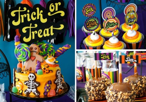 Super diferente e colorida essa festa de Halloween inspirada no jogo Candy Land