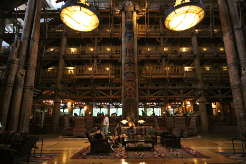 O lobby do Wilderness Lodge