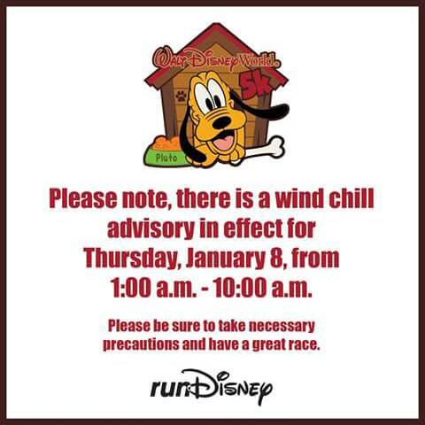 Wind chill advisory enviado pela runDisney