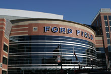 Entrada do Ford Field, o moderno estádio dos Detroit Lions