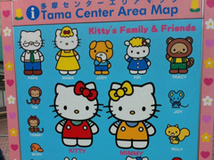 Mapa de Tama Center com personagens da Hello Kitty