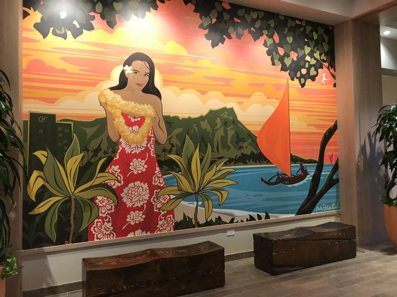Amei essa parede com esse lindo mural havaiano