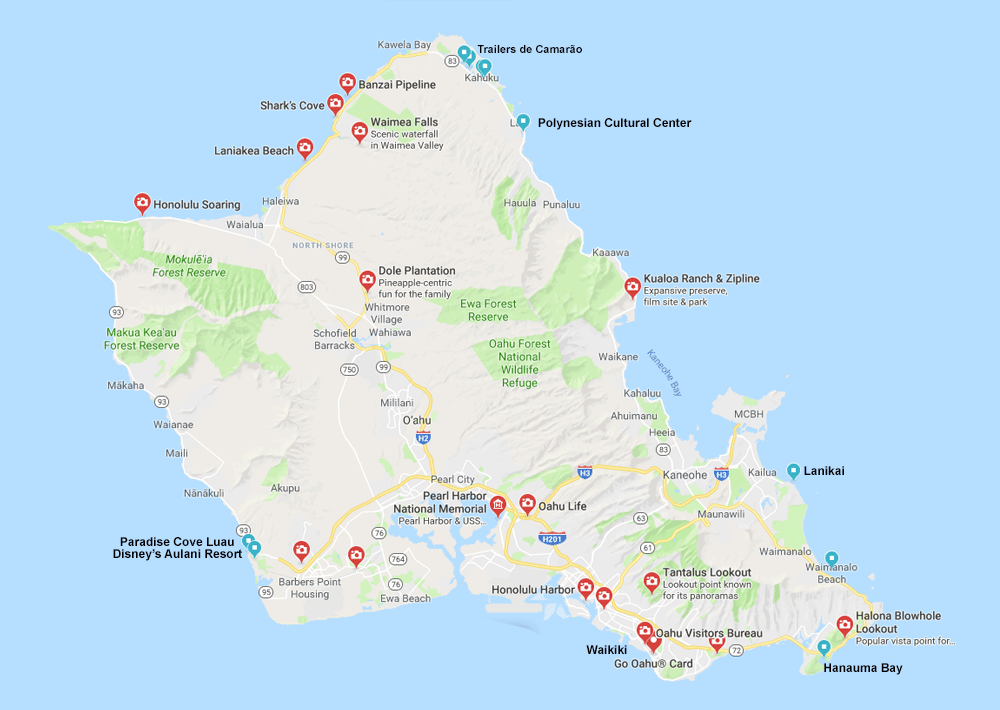 Mapa de Oahu com atrações principais